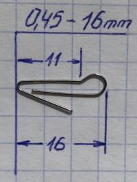 Скрепка под Чебурашку 16 мм (D 0.45) - 50шт